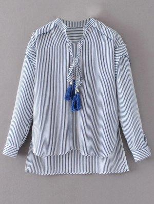 Tie Neck High Low Tassel Striped Blouse - Stripe