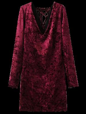 Lace Up Long Sleeve Velvet Dress - Wine Red