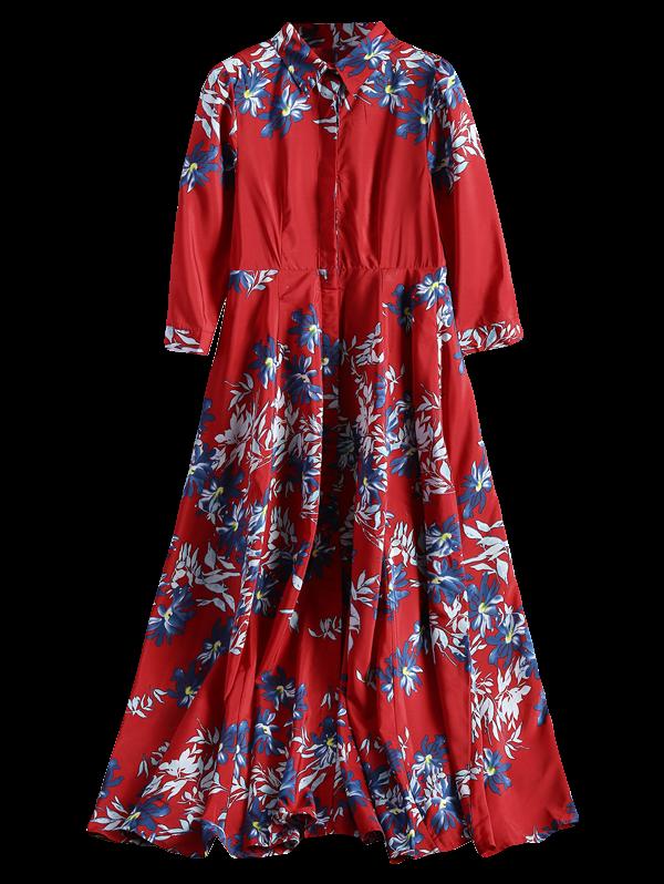 Floral Button Up Maxi Shirt Dress