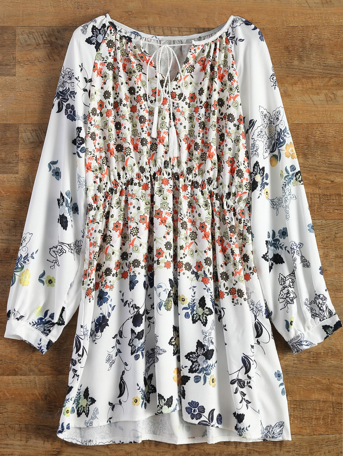 V-Neck Long Sleeve Tiny Floral Print Tunic Dress