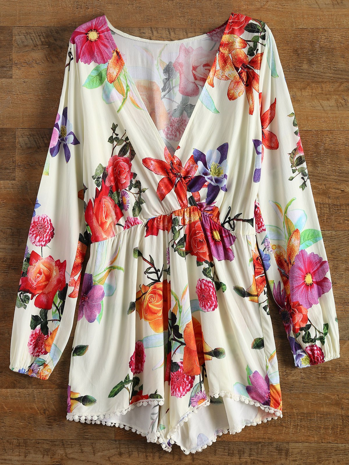 Plunging Neck Long Sleeve Floral Print Romper