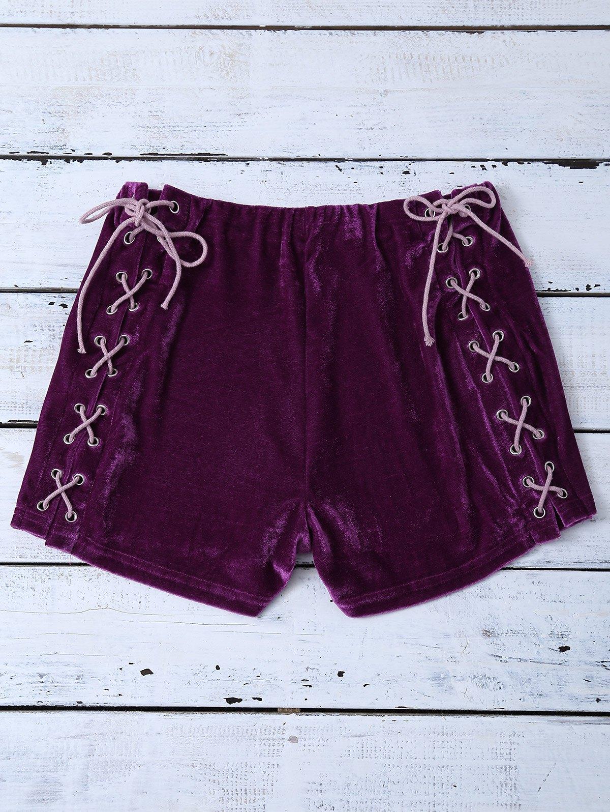 Lace Up Velvet Shorts