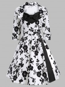 Vintage Printed Swing Dress - White And Black S