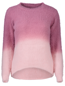 Ombre High-Low Sweater - ROSE RED ONE SIZE