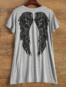 Lettre Wing Imprimer Manches Courtes T-shirt - Gris