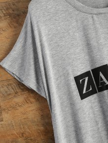 Wing Print Logo T-Shirt - GRAY ONE SIZE(FIT SIZE XS TO M)