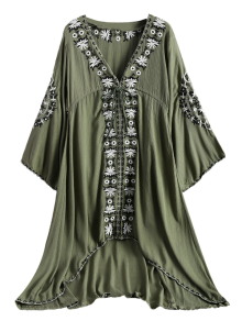 Embroidered Empire Waist Boho Dress - Army Green M