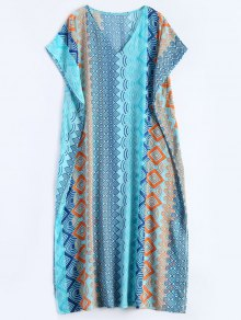 Geometric Print Chiffon Kaftan Cover Up