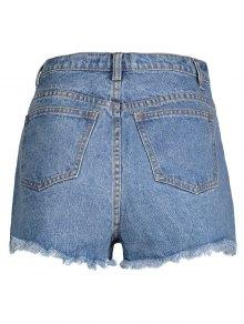 Fringe High Waist Denim Shorts LIGHT BLUE: Shorts | ZAFUL
