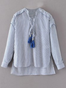 Tie Neck High Low Tassel Striped Blouse