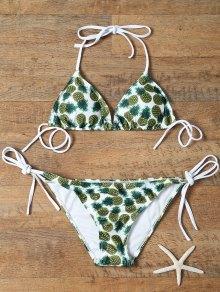 Pineapple Print Tie-Side Padded Bikini Set