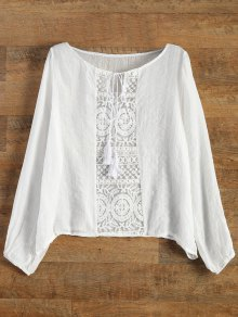 Lace Panel Tied Tassel Sheer Top - White