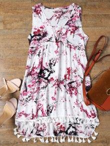 Low Cut Laciness High Low Dress - White Xl