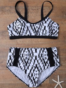Printed High Waist Plus Size Bikini Set