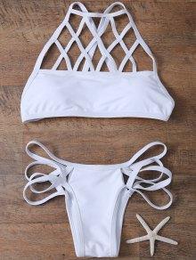 Strappy Crosscriss Cut Out Bikini Set