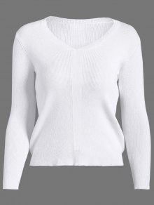 Basic Pullover Sweater - White M