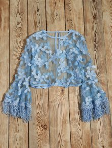 Fringed Flare Sleeve Sheer Lace Top - Light Blue M