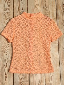 Sheer Lace High Neck T-Shirt - Orangepink M