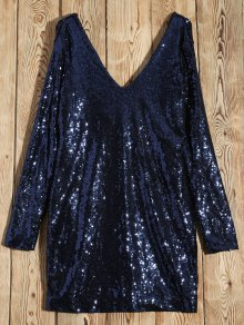 Long Sleeved Sequins Mini Party Dress