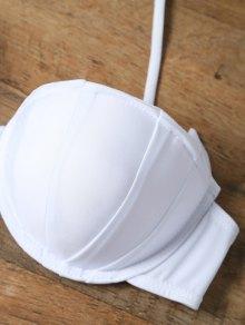 Side-Tie Bandeau Bikini Set - WHITE L
