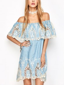Crochet Off The Shoulder Overlay Dress