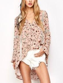 Floral Print Boho Swing Dress - Pink