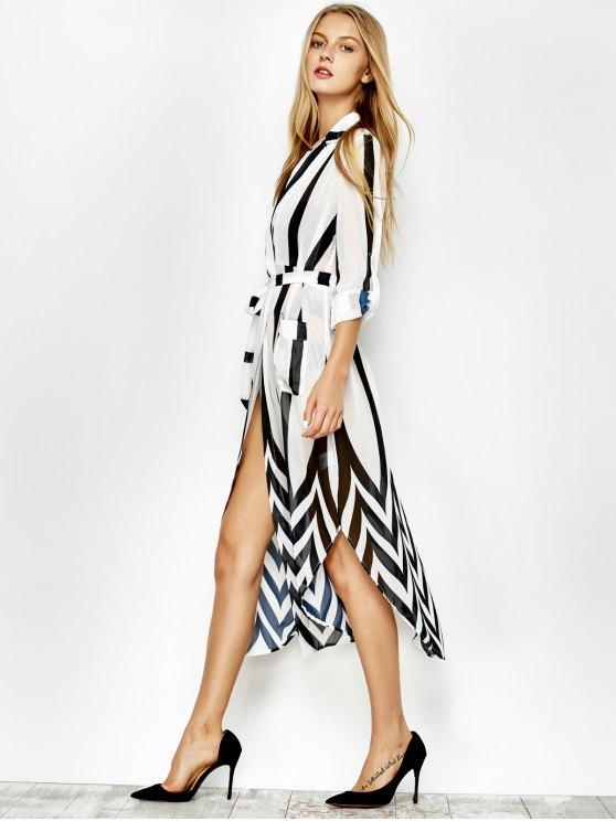 Belted Striped Shirt Dress - WHITE AND BLACK M Mobile