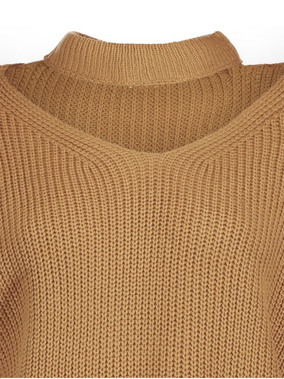 Cut Out Chunky Choker Sweater - EARTHY ONE SIZE Mobile