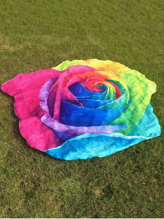 buy Multicolor Rose Design Beach Throw - COLORFUL ONE SIZE