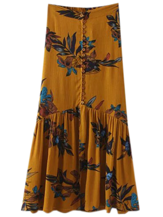 outfits Boho Floral Single-Breasted Maxi Skirt - GINGER S