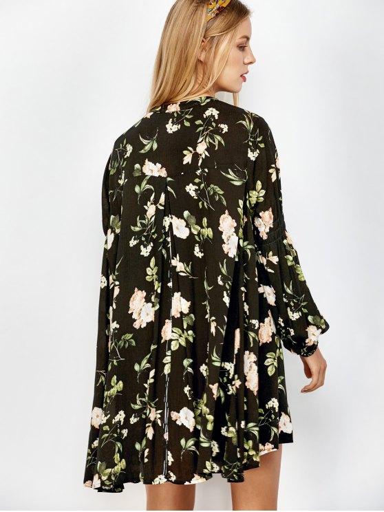 Floral Print Keyhole Neck Swing Dress - BLACK L Mobile