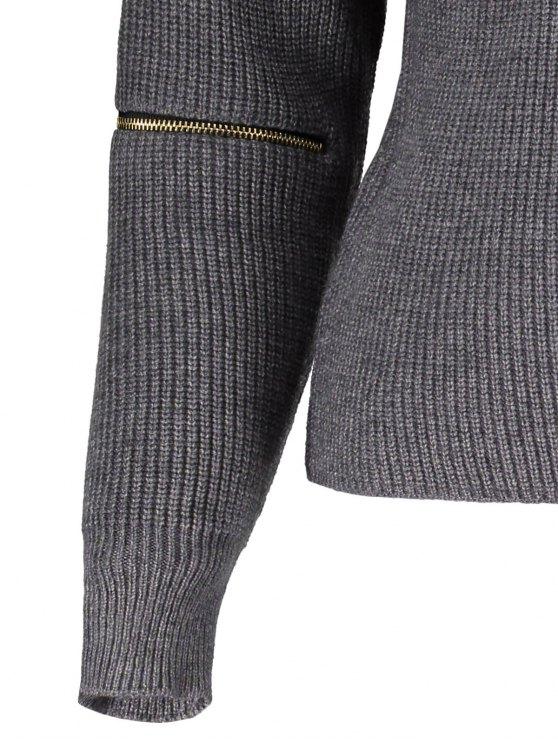 Zipped Sleeve Choker Jumper - GRAY ONE SIZE Mobile