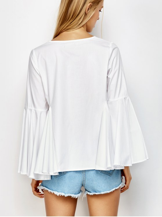 Bell Sleeve Cotton Blouse - WHITE S Mobile