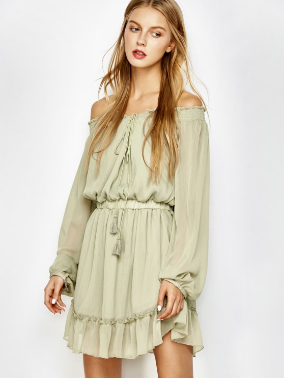 Off The Shoulder Chiffon Ruffle Mini Dress - LIGHT GREEN M Mobile