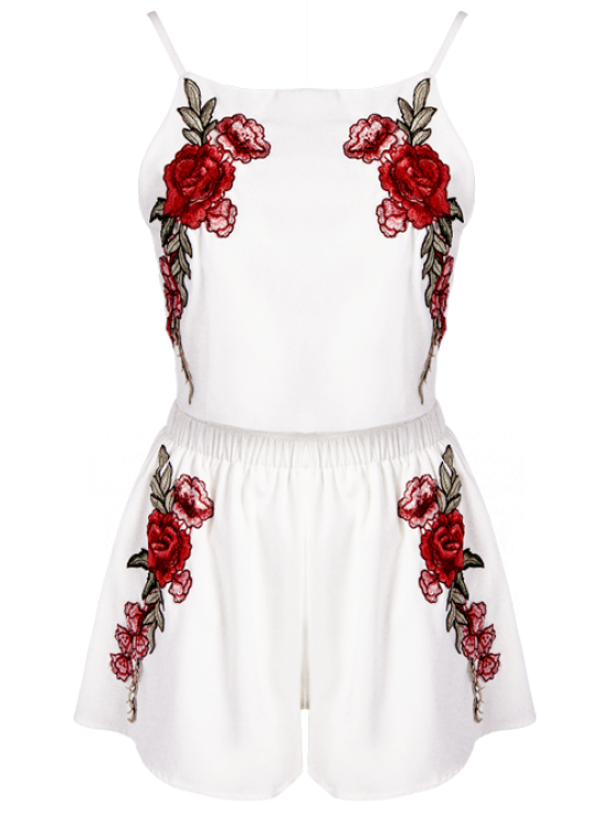 Rose Embroidered Slip Top with Shorts - WHITE 2XL Mobile