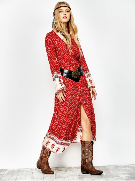 Printed Wrap Maxi Dress - RED L Mobile