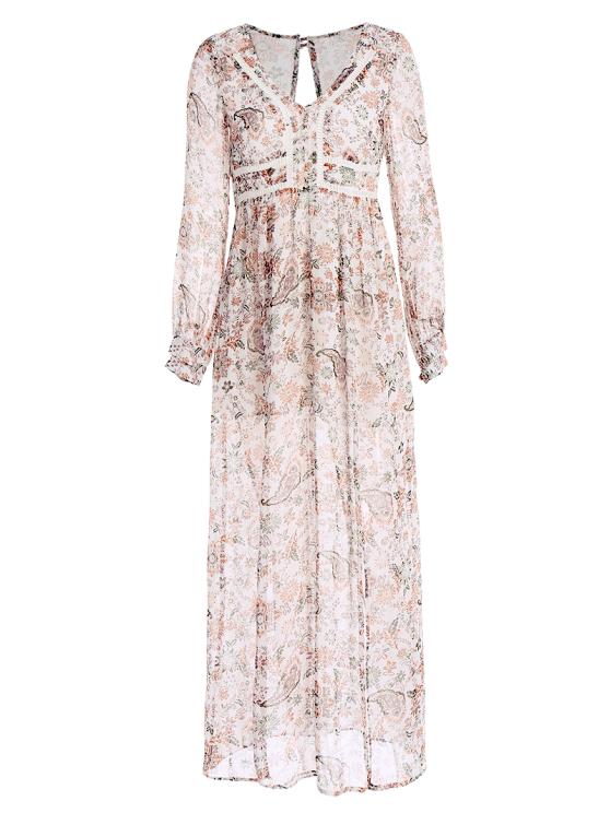 High Slit Printed Long Sleeve Maxi Dress - FLORAL M Mobile