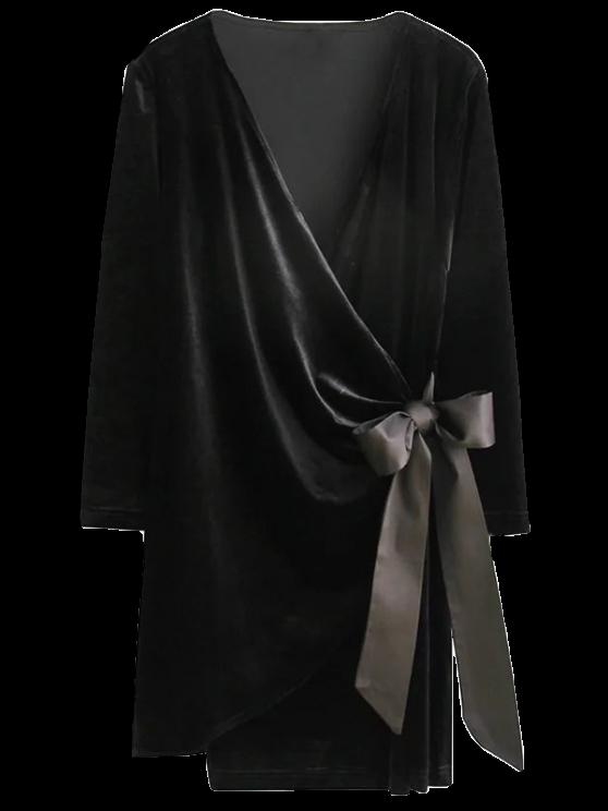 women Bowknot Tie Velvet Robe Dress - BLACK S
