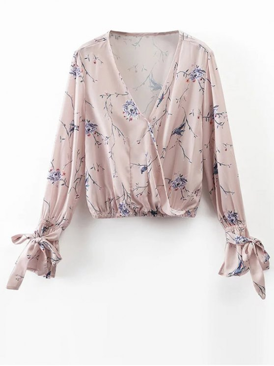 Floral Wrap Top - LIGHT PINK S Mobile