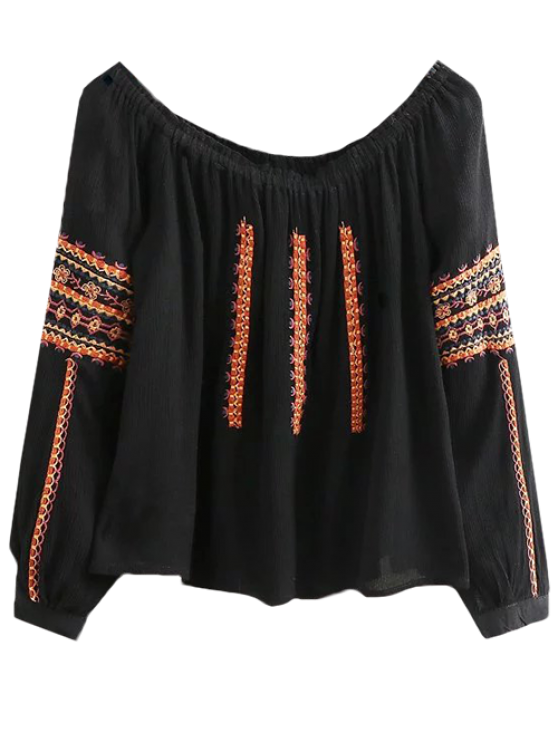 fancy Embroidered Long Sleeve Boho Blouse - BLACK S