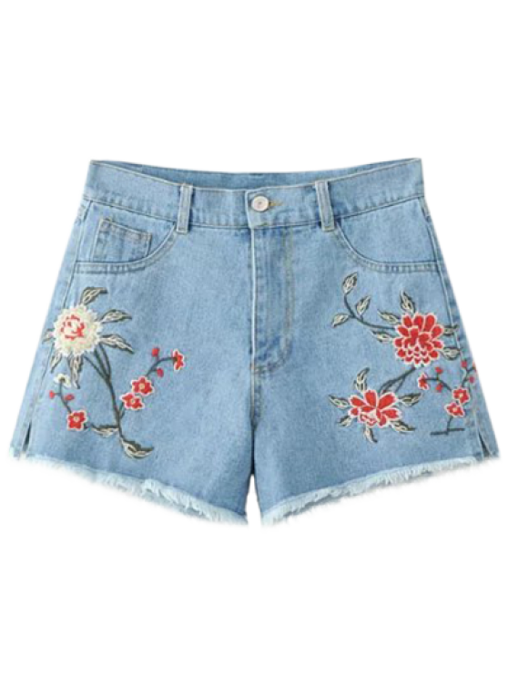 shops High Waisted Embroidered Denim Shorts - LIGHT BLUE S