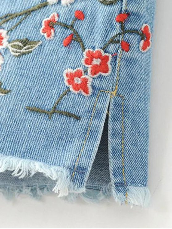 High Waisted Embroidered Denim Shorts - LIGHT BLUE M Mobile