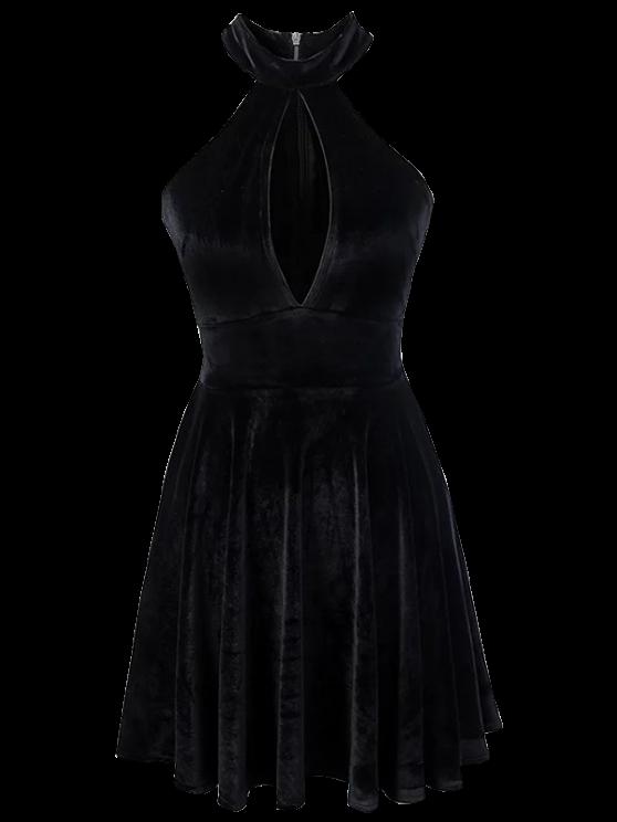 unique Velvet Keyhole Skater Dress - BLACK S