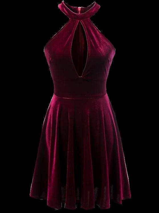 affordable Velvet Keyhole Skater Dress - BURGUNDY M