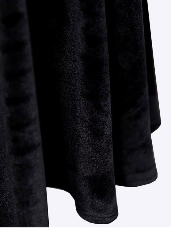 Velvet Keyhole Skater Dress - BURGUNDY M Mobile