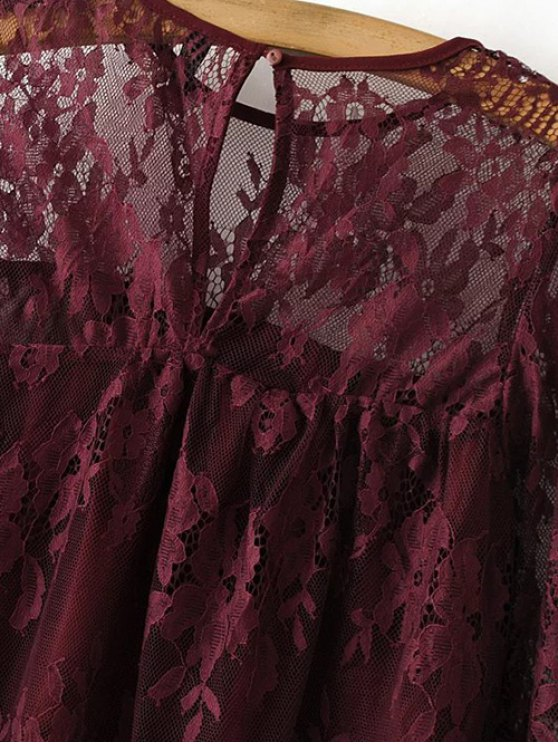 Sheer Floral Lace Smock Top - BURGUNDY M Mobile