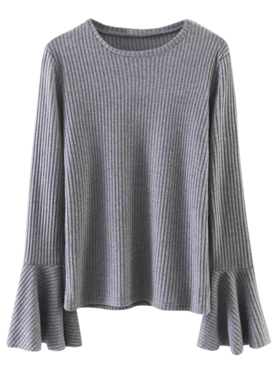 outfits Ribbed Bell Sleeve Jumper - GRAY S