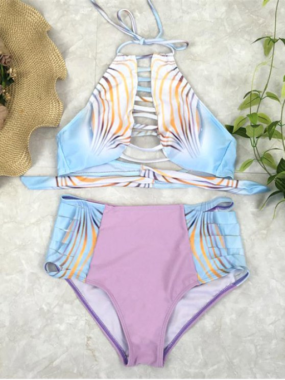 sale Bandage Halter High Waisted Bikini Set - PINK M