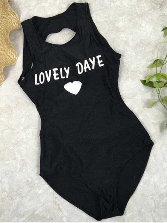 women's Open Back Lovely Daye Heart Swimsuit - BLACK L