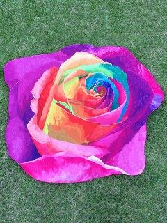 Multicolor Rose Design Beach Throw - Purple